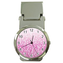 Pink Ombre Feather Pattern, White, Money Clip Watch by Zandiepants