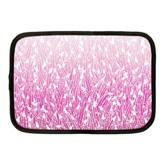 Pink Ombre Feather Pattern, White, Netbook Case (medium) by Zandiepants