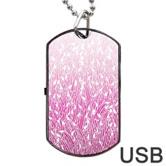 Pink Ombre Feather Pattern, White, Dog Tag Usb Flash (one Side) by Zandiepants