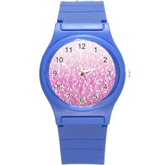 Pink Ombre Feather Pattern, White, Round Plastic Sport Watch (s) by Zandiepants