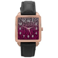 Pink Ombre Feather Pattern, Black, Rose Gold Leather Watch  by Zandiepants