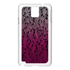 Pink Ombre Feather Pattern, Black, Samsung Galaxy Note 3 N9005 Case (white) by Zandiepants