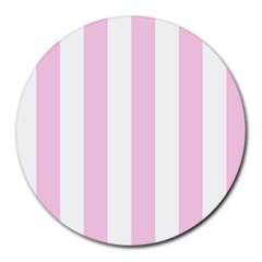 Vertical Stripes - White and Classic Rose Pink Round Mousepad by mirbella