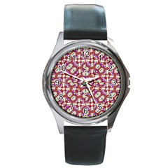 Boho Check Round Metal Watch by dflcprints