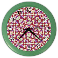 Boho Check Color Wall Clocks by dflcprints