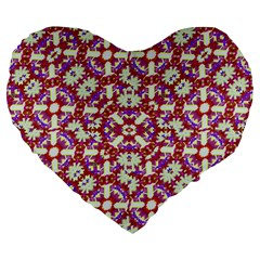 Boho Check Large 19  Premium Flano Heart Shape Cushions by dflcprints