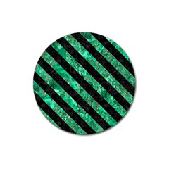 Stripes3 Black Marble & Green Marble (r) Magnet 3  (round)