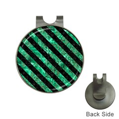 Stripes3 Black Marble & Green Marble (r) Golf Ball Marker Hat Clip by trendistuff