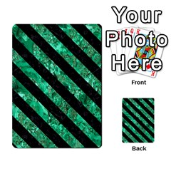 Stripes3 Black Marble & Green Marble (r) Multi Purpose Cards (rectangle)