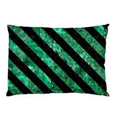 Stripes3 Black Marble & Green Marble (r) Pillow Case by trendistuff
