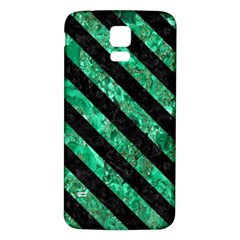 Stripes3 Black Marble & Green Marble (r) Samsung Galaxy S5 Back Case (white) by trendistuff