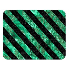 Stripes3 Black Marble & Green Marble (r) Double Sided Flano Blanket (large) by trendistuff