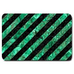 Stripes3 Black Marble & Green Marble Large Doormat by trendistuff