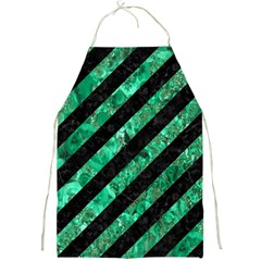 Stripes3 Black Marble & Green Marble Full Print Apron by trendistuff
