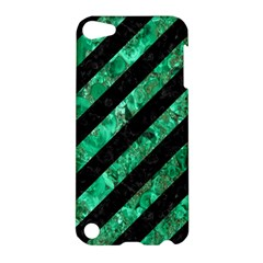 Stripes3 Black Marble & Green Marble Apple Ipod Touch 5 Hardshell Case by trendistuff
