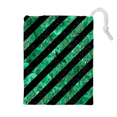 Stripes3 Black Marble & Green Marble Drawstring Pouch (xl) by trendistuff