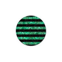 Stripes2 Black Marble & Green Marble Golf Ball Marker (4 Pack) by trendistuff