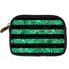 Stripes2 Black Marble & Green Marble Digital Camera Leather Case by trendistuff