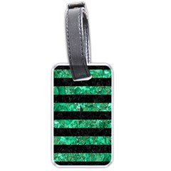 Stripes2 Black Marble & Green Marble Luggage Tag (one Side) by trendistuff