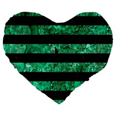 Stripes2 Black Marble & Green Marble Large 19  Premium Flano Heart Shape Cushion by trendistuff