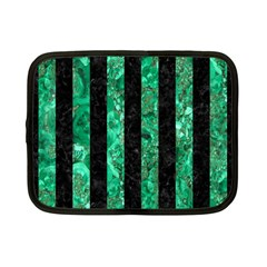 Stripes1 Black Marble & Green Marble Netbook Case (small) by trendistuff