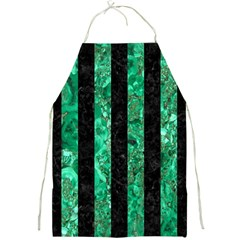 Stripes1 Black Marble & Green Marble Full Print Apron by trendistuff