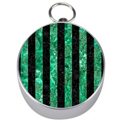 Stripes1 Black Marble & Green Marble Silver Compass by trendistuff