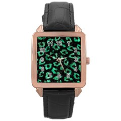 Skin5 Black Marble & Green Marble (r) Rose Gold Leather Watch  by trendistuff