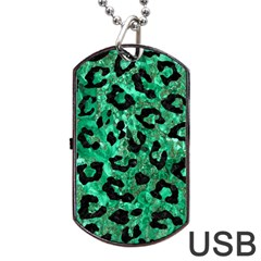 Skin5 Black Marble & Green Marble Dog Tag Usb Flash (two Sides) by trendistuff