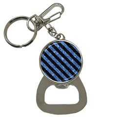 Stripes3 Black Marble & Blue Marble (r) Bottle Opener Key Chain by trendistuff