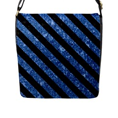 Stripes3 Black Marble & Blue Marble (r) Flap Closure Messenger Bag (l) by trendistuff