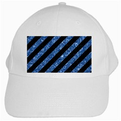 Stripes3 Black Marble & Blue Marble White Cap