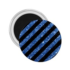Stripes3 Black Marble & Blue Marble 2 25  Magnet by trendistuff
