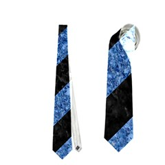 Stripes3 Black Marble & Blue Marble Necktie (one Side) by trendistuff