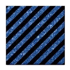 Stripes3 Black Marble & Blue Marble Face Towel by trendistuff