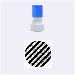 Stripes3 Black Marble & Blue Marble Rubber Stamp Round (small) by trendistuff