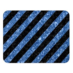Stripes3 Black Marble & Blue Marble Double Sided Flano Blanket (large) by trendistuff