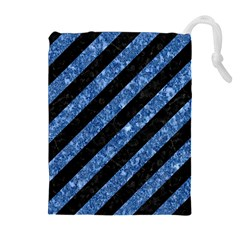 Stripes3 Black Marble & Blue Marble Drawstring Pouch (xl)