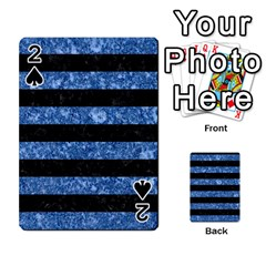 Stripes2 Black Marble & Blue Marble Playing Cards 54 Designs