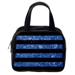 Stripes2 Black Marble & Blue Marble Classic Handbag (one Side) by trendistuff
