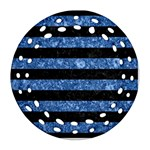 STRIPES2 BLACK MARBLE & BLUE MARBLE Round Filigree Ornament (Two Sides) Front