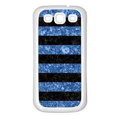 Stripes2 Black Marble & Blue Marble Samsung Galaxy S3 Back Case (white) by trendistuff