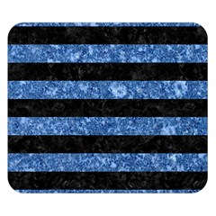 Stripes2 Black Marble & Blue Marble Double Sided Flano Blanket (small) by trendistuff