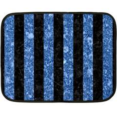 Stripes1 Black Marble & Blue Marble Fleece Blanket (mini)