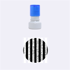 Stripes1 Black Marble & Blue Marble Rubber Stamp Round (small)