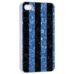 Stripes1 Black Marble & Blue Marble Apple Iphone 4/4s Seamless Case (white) by trendistuff
