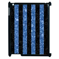 Stripes1 Black Marble & Blue Marble Apple Ipad 2 Case (black) by trendistuff