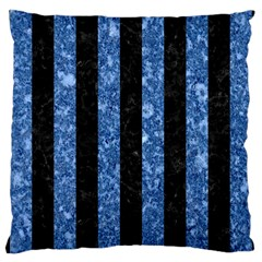 Stripes1 Black Marble & Blue Marble Large Cushion Case (two Sides) by trendistuff