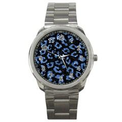 Skin5 Black Marble & Blue Marble (r) Sport Metal Watch by trendistuff