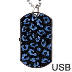 Skin5 Black Marble & Blue Marble (r) Dog Tag Usb Flash (one Side) by trendistuff